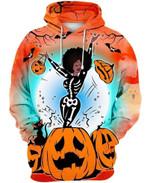 Black Girl With Skeleton Halloween 3D Hoodie Zip Hoodie N98