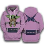 Star Wars Baby Yoda Mando Carrier 3D Hoodie Zip Hoodie N98