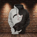 Cat Yin Yang 3D All Over For Cat Lovers 3D Hoodie VA95