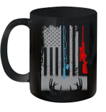 Black Mug 4th Of July Independence Day Fishing Rod Hunting Rifle American Flag Premium Sublime Ceramic Coffee Mug