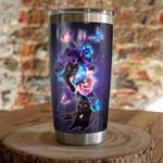 Black Cat & Purple Rose Gift for lover Day Travel Tumbler All Over Print
