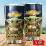 Chevrolet Chevelle Baby Yoda Custom Name 999 gift for lover Day Travel Tumbler All Over Print