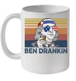White Mug 4th Of July Independence Day Ben Drankin Benjamin Franklin Vintage Premium Sublime Ceramic Coffee Mug