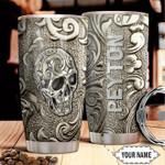 Customized Metal Skull Art Printed Gift for lover Day Travel Tumbler All Over Print