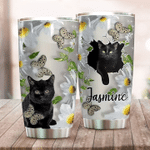 Custom name Funny cat sweet butterfly Gift for lover Day Travel Tumbler All Over Print