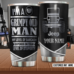Custom name Grumpy Old Man Love Car Gift for lover Day Travel Tumbler All Over Print