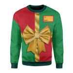 Merry Christmas Gearhomies Unisex Christmas Sweater Gift Box Custom Name 3D Apparel