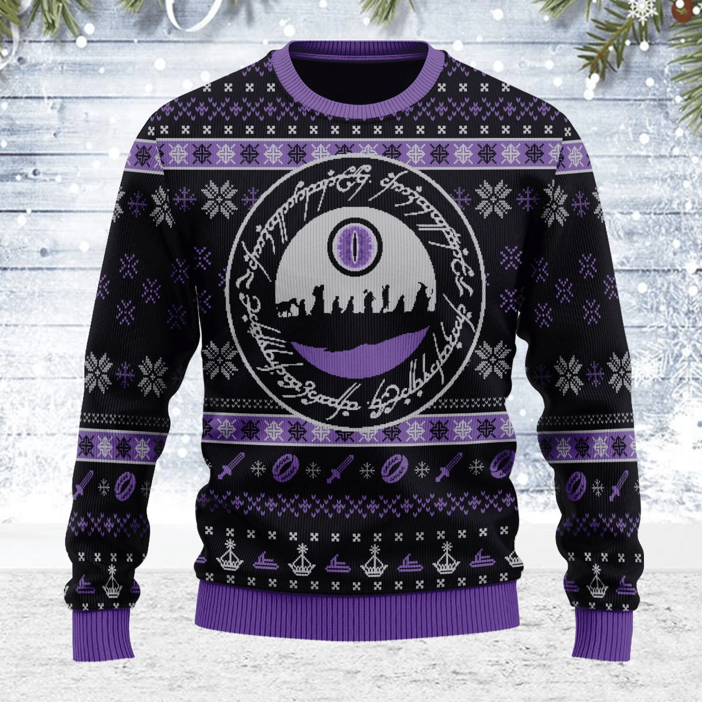 Merry Christmas Gearhomies Unisex Ugly Christmas Sweater The Lord of the Rings The Fellowship 3D Apparel