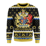 Merry Christmas Gearhomies Unisex Christmas Sweater Coat Of Arms Henry IV 3D Apparel