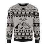 Merry Christmas Gearhomies Unisex Christmas Sweater Ancient Alien Pyramid 3D Apparel