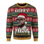Merry Christmas Gearhomies Unisex Christmas Sweater Merry Yeezus Meme 3D Apparel