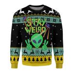 Gearhomies Christmas Unisex Sweater Stay Weird Alien Ugly Christmas 3D Apparel