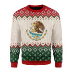 Merry Christmas Gearhomies Unisex Christmas Sweater Mexico Coat Of Arms Christmas 3D Apparel