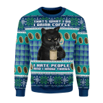 Merry Christmas Gearhomies Unisex Christmas Sweater I Hate People Cat 3D Apparel