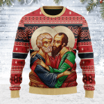 Merry Christmas Gearhomies Unisex Ugly Christmas Sweater St. Apostles Peter and Paul 3D Apparel