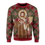 Merry Christmas Gearhomies Unisex Christmas Sweater Orthodox Christianity 3D Apparel