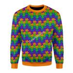 Merry Christmas Gearhomies Unisex Christmas Sweater Autism 3D Apparel