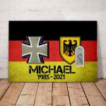 Gearhomies Personalized Military Canvas German Flag With Name & Rank/Insignia