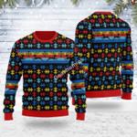 Merry Christmas Gearhomies Unisex Ugly Christmas Sweater Autsim 3D Apparel