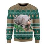Merry Christmas Gearhomies Unisex Christmas Sweater Rhino Giving Birth 3D Apparel