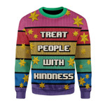 Merry Christmas Gearhomies Unisex Christmas Sweater Treat People With Kindness 3D Apparel