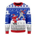 Merry Christmas Gearhomies Unisex Christmas Sweater Santa And Jesus Playing Snowball 3D Apparel