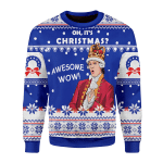 Merry Christmas Gearhomies Unisex Christmas Sweater Oh It's Christmas Awesome Wow 3D Apparel