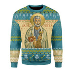 Merry Christmas Gearhomies Unisex Christmas Sweater Saint Peter 3D Apparel