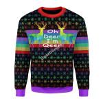 Merry Christmas Gearhomies Unisex Christmas Sweater Oh Deer I'm Qeer LGBT