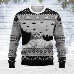 Merry Christmas Gearhomies Unisex Ugly Christmas Sweater UFO Cat Hoodie Funny Cat Selfi 3D Apparel