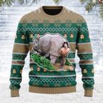 Merry Christmas Gearhomies Unisex Ugly Christmas Sweater Rhino Giving Birth 3D Apparel