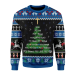 Merry Christmas Gearhomies Unisex Christmas Sweater Jesus Christmas Tree Gold Cross