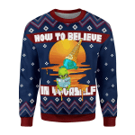 Gearhomies Christmas Unisex Sweater How to Believe In Yourself Alien Ugly Christmas 3D Apparel