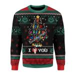 Merry Christmas Gearhomies Unisex Christmas Sweater Christmas Tree Sign Language Ugly Xmas 3D Apparel