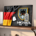Gearhomies Personalized Military Wooden Pallet German Half Flag With Name & Rank/Insignia