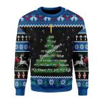 Merry Christmas Gearhomies Unisex Christmas Sweater Jesus Christmas Tree Gold Cross 3D Apparel