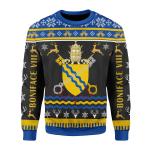 Merry Christmas Gearhomies Unisex Christmas Sweater Pope Boniface VIII Coat of Arms 3D Apparel