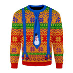 Merry Christmas Gearhomies Unisex Christmas Sweater LGBTQ+  With Tie And Suspenders 3D Apparel
