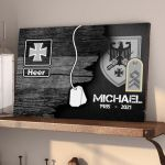 Gearhomies Military Wooden Pallet Personalized Name With Rank/Insignia Black & White