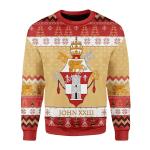 Merry Christmas Gearhomies Unisex Christmas Sweater Pope John XXIII Coat Of Arms 3D Apparel