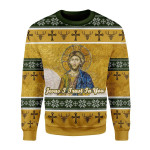 Merry Christmas Gearhomies Unisex Christmas Sweater Jesus I Trust In You 3D Apparel