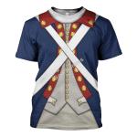Gearhomies Unisex T-Shirt Patriot Soldier in American Revolution 3D Apparel