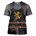 Gearhomies Unisex T-Shirt Heraldic Knight Black 3D Apparel
