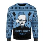 Merry Christmas Gearhomies Unisex Christmas Sweater Edgar Allan Poe Christmas 3D Apparel