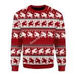 Merry Christmas Gearhomies Unisex Christmas Sweater Reindeer 3D Apparel