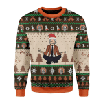 Merry Christmas Gearhomies Unisex Christmas Sweater Einstein Doing Yoga 3D Apparel