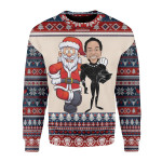 Merry Christmas Gearhomies Unisex Christmas Sweater Santa And Chadwick Boseman