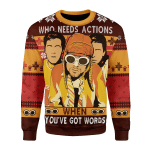 Merry Christmas Gearhomies Unisex Christmas Sweater Who Needs Actions When You've Got Words