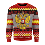 Merry Christmas Gearhomies Unisex Christmas Sweater Russia Coat Of Arms 3D Apparel