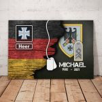 Gearhomies Personalized Military Canvas German Half Flag With Name & Rank/Insignia